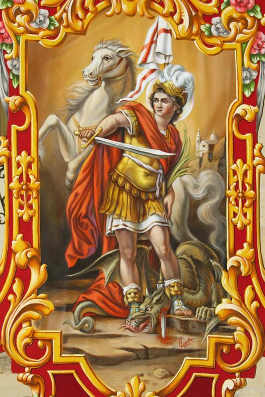 San Ġorġ Martri fuq bandalora mpinġi minn Joseph Cauchi għall-festa ta' San Lawrenz. (Ritratt ta' Anthony Grech)